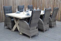 Tuintafel Met 6 Verstelbare Stoelen.Norwich Tafel 250 Met 6 San Francisco Diningstoelen Natural Grey